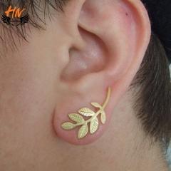 HN Brand 1 pair/Set New Beautiful Hot Plant leaves metal stud earrings Women Jewellery Gift gold 3cm*1.3cm
