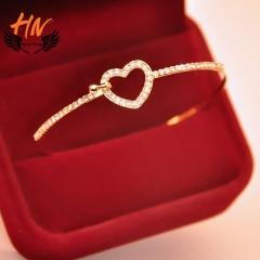 HN Brand 1pcs New Fashion Bow the heart of love Diamond Metal Bracelets Bangles Women Jewellery Gift gold one size