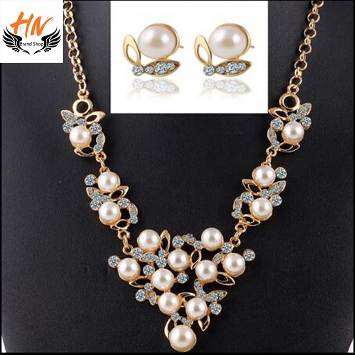 HN Brand-3 piece/Set New Butterfly Pearl crystal Necklace pendant stud earring Women Jewellery Gift gold chain length:52cm