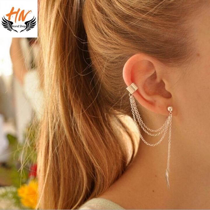 HN Brand-1 Pcs New Beautiful Metal leaf tassels Drop stud earrings For Women Jewellery Gift gold 0.9cm*2cm
