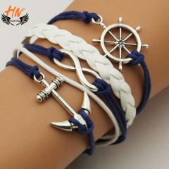 HN Brand 1 Piece New DIY Anchor ship rudder multilayer skin Bracelets Bangles Women Men Jewellery silver one size