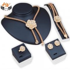 HN Brand 5 piece/Set New Diamond Flower Ring Necklace pendant stud earring Women Jewellery Gift gold one size