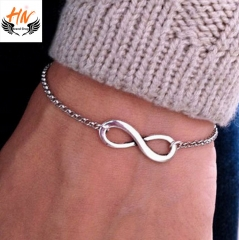 HN Brand 1Pcs/Set New Fashion 8 character buckle Metal Bracelets Bangles Women Jewellery Gift silver one size