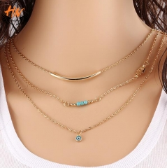 HN Brand 1 Piece New Eye clavicle chain Alloy Jewelry Necklaces Pendant Women And Men Jewellery Gift gold one size