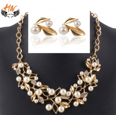 HN Brand 2pcs/set leaves Pearl crystal necklace/earrings one size Women jewelry gold one size