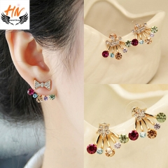 HN Brand 1 pair/Set New Beautiful Hot Diamond diamond color Pentagram bow crown Earrings Jewellery crown 1.8cm*1.7cm