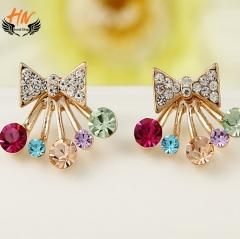HN Brand 1 pair/Set New Beautiful Hot Diamond diamond color Pentagram bow crown Earrings Jewellery Butterfly 1.8cm*1.7cm