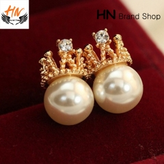 HN Brand 1 pair/Set New Beautiful Diamond crown Pearl stud earring For Women Jewellery Gift gold 1cm*1.7cm