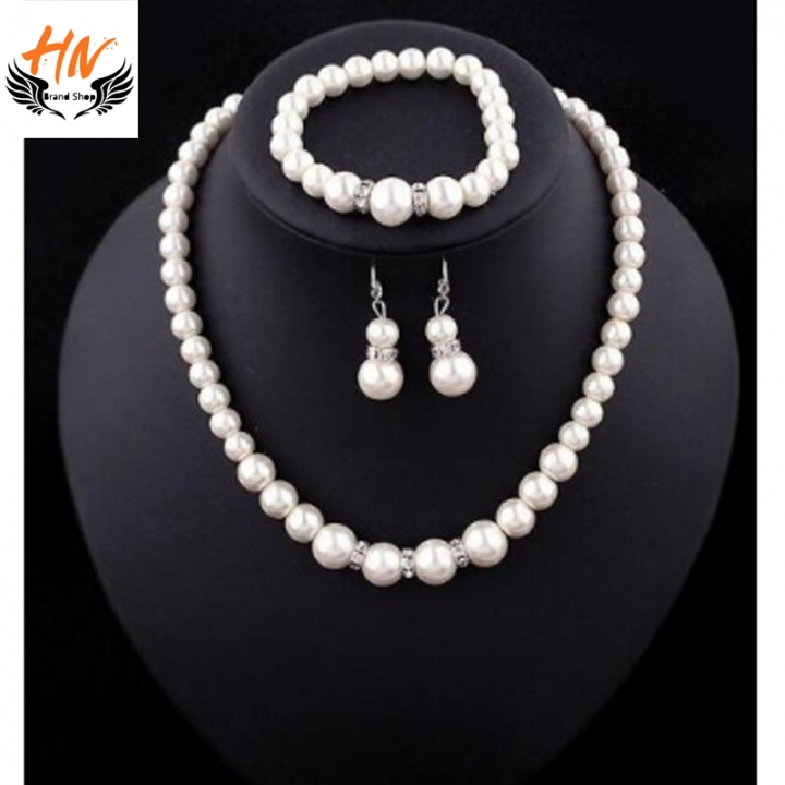 HN 4 Piece/set Fashion Classic Imitation Pearl Silver Plated Clear Crystal Top Elegant Party Gift white one size