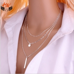 HN Brand 1 Piece/Set New 3 layer sequins Alloy Necklaces Pendant Women And Men Jewellery Gift silver as picture