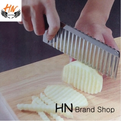 HN Brand-Potato Wavy Edged Cutter Knife Gadget Vegetable Fruit Potato Cutter Peeler Cooking Tools silver as picture