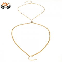 HN-1 piece/Set New Fashion Bohemia folk style retro Turquoise body jewelry wholesale chain Necklace gold as picture