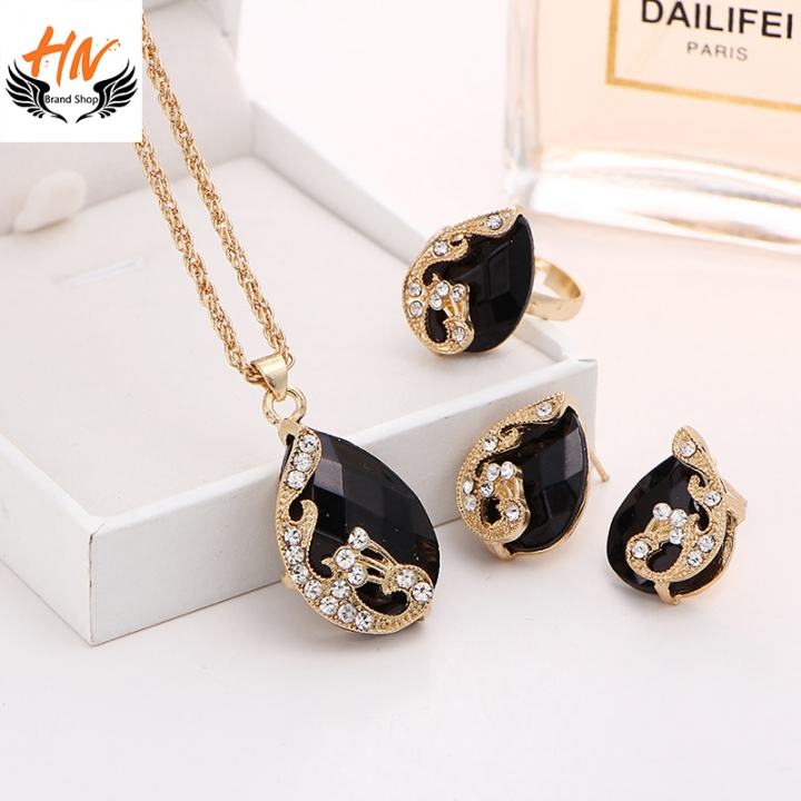 HN-3 piece/Set New Crystal drops Peacock Necklace pendant ring stud earring Women Jewellery Gift black as picture