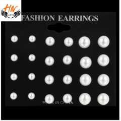 HN Brand 12 pairs/ set Simulated Pearl Earrings For Women Jewellery Bijoux Brincos Pendientes Mujer White one size