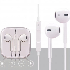 HN Brand 1set iPhone and android universal earphone with white line control mic white