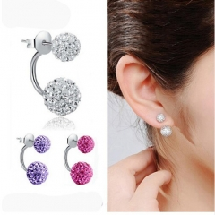 HN brand Shambhala Double Sided Sythetic Crystal Ball Stud Earrings for Women Wedding Jewellery random color as picture