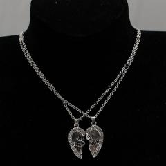 HN Brand 1 pair/Set New Beautiful Fashion best friends Heart Pendant pendant alloy Diamond necklace silver 46cm