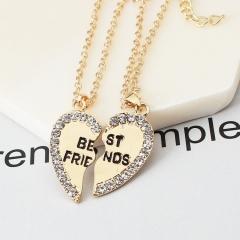 HN Brand 1 pair/Set New Beautiful Fashion best friends Heart Pendant pendant alloy Diamond necklace gold 46cm