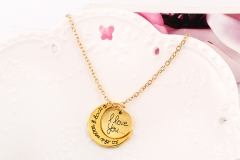 HN-1 Piece/Set New i love you to the moon and back Alloy Necklaces Pendant Women Men Jewellery Gift gold 46cm