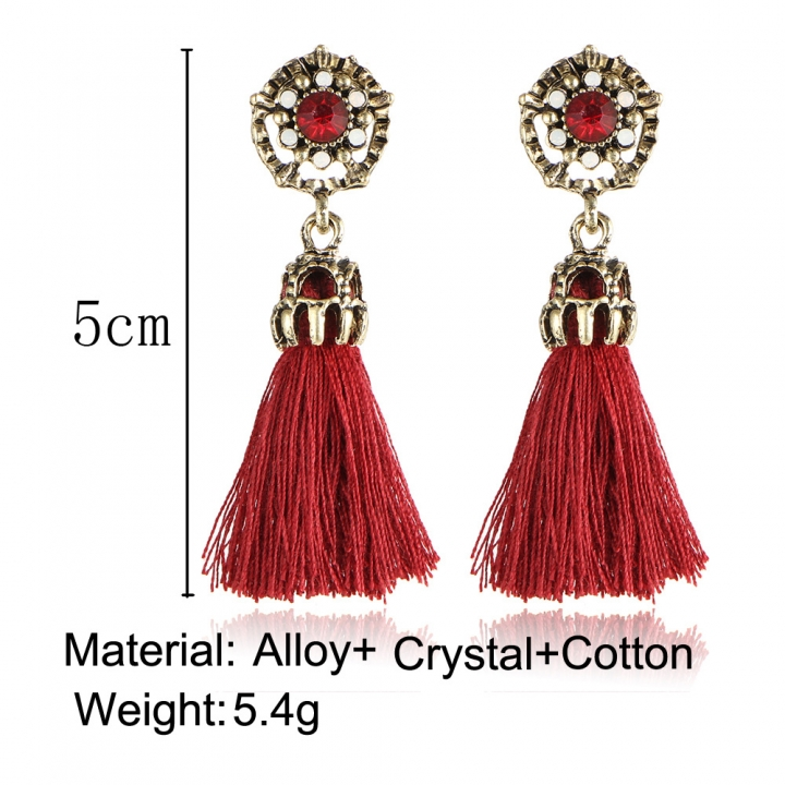 HN-1 Pair/Set New Fashion Velvet cotton retro Stud Drop Earrings For Women Jewellery Gift Red one size