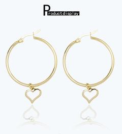 HN brand A pair of new fashion European  titanium steel coil round women earrings gift Titanium alloy 45.8mm