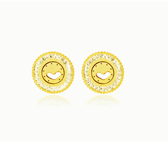 HN brand A pair of Fashionable new titanium and steel zircon earrings from Europe and America titanium alloy one size