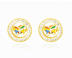 HN brand A pair of European and American fashion set diamond earrings refined round female earrings titanium alloy one size