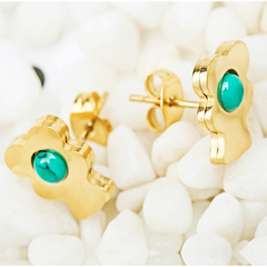 HN brand A pair of  new fashion European  retro stainless steel green zircon earrings gift titanium alloy one size