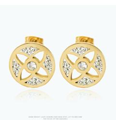 HN brand  new fashion A pair of European  round titanium steel earrings inlaid with zircon titanium alloy 140 mm diameter