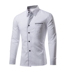 Cotton Spring Autumn Men Shirt Casual Solid Long Sleeve Slim Fit Male Formal Business Dress Shirts white M