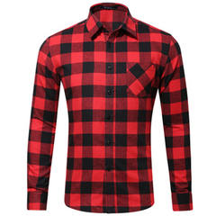 HN Brand all-cotton spring and autumn  casual long sleeve slim fit Single pocket men's shirt style 1 s