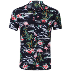 HN Brand spring summer fall flamingo print casual short sleeve slim fit Hawaiian men's shirt style 1 s
