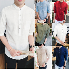 HN Brand spring summer autumn casual half sleeve slim fit solid color men's shirt white m