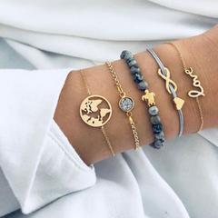 HN brand new fashion 5pcs/set map  tortoise love Eight words Women's bracelet suit gold length:17cm