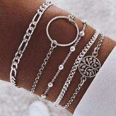 HN brand new fashion 5pcs/set hollow circle bead chain Women's bracelet suit silver length:20cm
