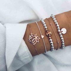 HN brand new fashion 5pcs/set hollow lotus tag heart crown Women's bracelet suit gold + silver length:20cm