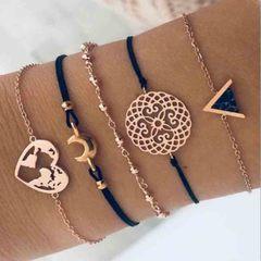 HN brand new fashion 5pcs/set love map triangle black pine carved flowers Women's bracelet suit gold + black length:18cm