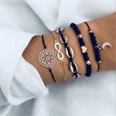 HN brand new fashion 5pcs/set hollow shell heart moon figure 8 Women's bracelet suit gold + black length:19cm