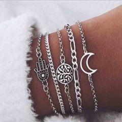 HN brand new fashion 5pcs/set palm moon hollow leaves Women's bracelet suit silver length:21cm