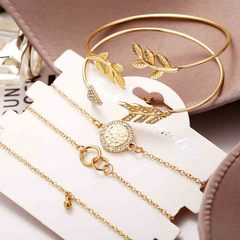 HN brand new fashion 5pcs/set leaves circle beads Women's bracelet suit gold length:18cm