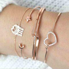 HN brand new fashion 4pcs/set hollow heart pentagram Women's bracelet suit gold length:18cm