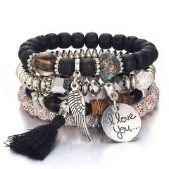 HN brand new fashion 4pcs/set vintage folk style opal multi-layer tassel bracelet Women's bracelet black 21cm