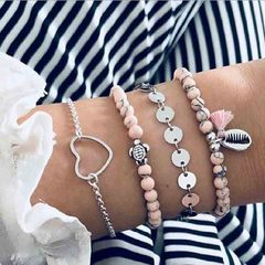 HN brand new fashion 4pcs/set hollow heart turtle shell sequins Women's bracelet suit silver + pink length:18cm