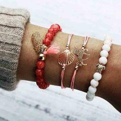 HN brand new fashion 4pcs/set turtle pineapple beads Women's bracelet suit red length:20cm