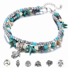 HN brand new fashion 2 layers starfish mizhu yoga beach with pendant Women's bracelet tortoise pendant length:23.5cm