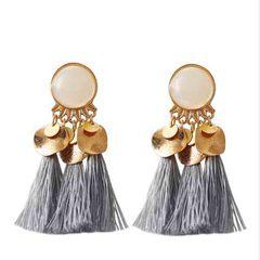 HN brand new fashion 1 pair Bohemian style alloy resin tassel earrings silver length:7cm