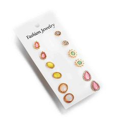 HN brand new fashion 6 pairs of multi-elements drip brick flower earrings set as picture one size