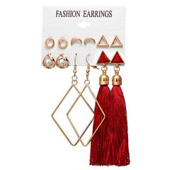 HN brand new fashion 6 pairs/set Bohemian floral fringed women earrings as picture 1 as picture