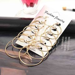 HN brand new fashion / 6 pairs of exaggerated circles Women earrings gold as picture