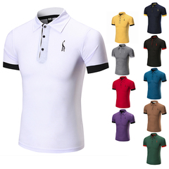 HN Pure color simple Lapel deer chest mark large men's POLO shirt, fashionable clothes, T shirt white m mixed material